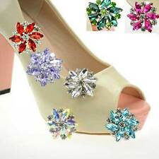 Snowflake Flower Color Rhinestone Acrylic Crystal Wedding Bridal Shoe Clips Pair