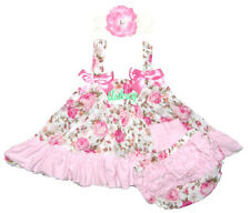 Personalized Baby Light Pink Roses Swing Top, Bloomers & Headband Free Ship