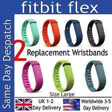 2 x LARGE Replacement Bands for Fitbit Flex Wireless Activity Wristband & Clasps