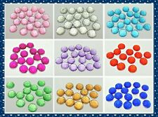 100 Flatback Resin Dotted Round Rhinestone Cabochon Gems 12mm Pick Your Colour