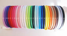 3 Pack of 10mm Girls Skinny Satin Covered Hair bands Headbands Alice Bands