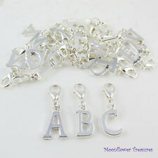 Silver Plate Letter Alphabet A to Z Charm fit Clip on Charm Bracelet