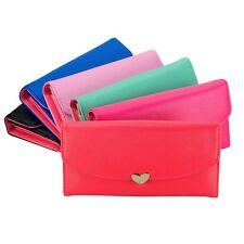New Women's Elegant Button Faux Leather Clutch Wallet Purse Lady Long Handbag