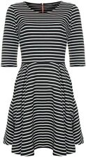 French Connection Suki Winter Stripe Fit & Flare Dress Black/White - UK 8-14