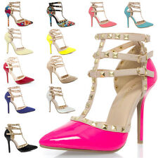 Women Studded Pointy Toe Ankle Strap Gladiator High Heel Stiletto Pumps US 5-11