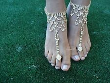 GOLD ~ Crystal barefoot sandals / anklet foot Beach Wedding Bridal / Bridesmaid
