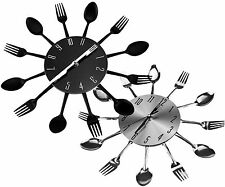 Designer Sliver/Black Cutlery Kitchen Wall Clock Spoon Fork Clock New
