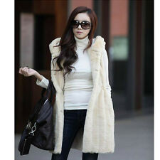 2014 new imitation fur  vest and long sections vertical stripes vest hooded vest