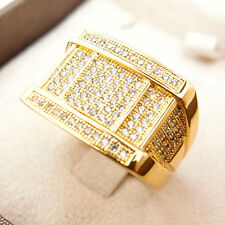 CZ Iced Out Bling Ring 24K Yellow Gold Filled Glint Men's Ring R47 9#-12#