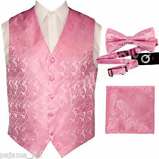 PINK XS to 6XL Paisley Tuxedo Suit Dress Vest Waistcoat & Bow tie & And Hankie