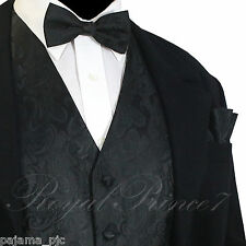 Black  Paisley Tuxedo Suit Dress Vest Waistcoat & Bow tie  Hankie Wedding Prom