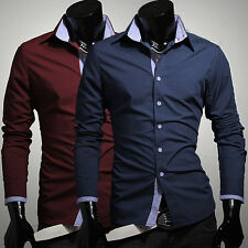 New Stylish Men Long Sleeve Casual Shirts Slim Fit Formal Dress Shirts Tops Tee