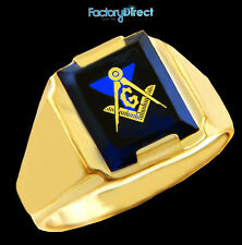 Freemason Masonic Square & Compass Gold Mens Ring with Blue Stone (Made in USA)