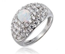 Synthesis Opal and White Cubic Zirconia Sterling Silver Ring, party/wedding