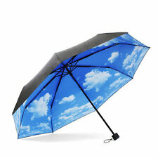 New Parasol Sturdy Travel Anti-UV Windproof Sun Umbrella Blue Sky / White Clouds
