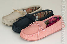 Ladies Womens Coolers Genuine Suede Leather Moccasin House Slippers