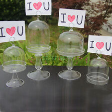 Glass Cake Stand Cupcake Tarts Donuts Cover with Card Holder Home Wedding Decor