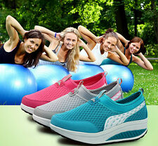 Women Casual Shape-Ups Slip On Lace Up Walking Fitness Sport Shoes Sneaker ms124