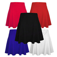 Ladies Womens Elasticated Flared Mini Party Dress Skater Skirt UK Size 6-14