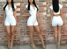 Sexy Women Solid White Clubwear Party Jumpsuit Romper Mini Pants Suit Dress New