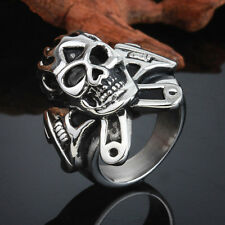 Unique Men's Bling Skull Silver Stainless Steel Harley Biker Ring Size 8-12