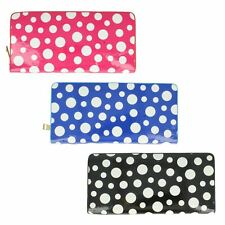 Ladies Ella Polka Dot Zip Fastening Purse in Navy, Black or Fuchsia - 72699