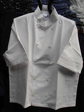 "Faithful White Chef Jackets with Short Sleeves – 36"" to 49"""