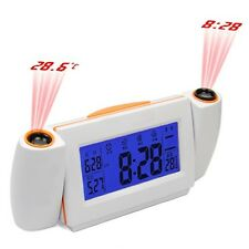 New Digital LCD LED Time Projector Dual Laser Projection Temperature Alarm Clock