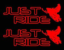 2 JUST RIDE SNOWMOBILE DECAL STICKER PACK SLED SNOW MOBILE MACHINE SKI TRACK