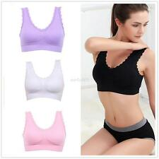 Lady Lace Solid Crop Top Vest Full Coverage No Rims Padded Bra Yoga Sports Bras
