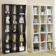 WHITE Cappuccino Asymmetrical Compartment Storage Display Bookcase Bookshelf