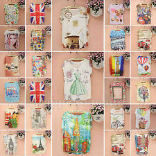 37 Colors Fashion Printed Pattern Loose Casual Women's Short Sleeve T Shirt Tops