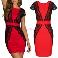 Lace Crochet Bodycon Tunic Womens Cocktail Party Prom Wedding Bridesmaid Dress