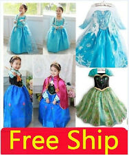 Dress+Cloak HOLLOWEEN Girls Frozen Princess Anna Elsa Cosplay Costume Kid's 3-8Y