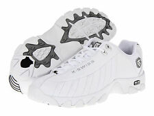 Men K-Swiss ST329 Leather  0866129 White Black Silver 100% Authentic Brand New