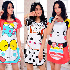 Summer Pajamas Fashion Women Girls Cat Skirt Sleepwear Cotton Short Sleeve A