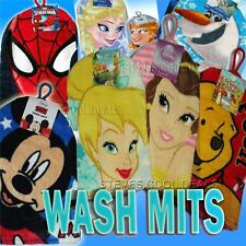 KIDS WASH MITT BATH FLANNEL FACE CLOTH DISNEY PRINCESS MINNIE MOUSE SPIDER MAN