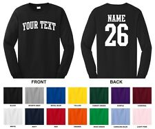 Custom Name & Number Personalized Long Sleeve T-shirt, Choose Text ARCHED TEXT