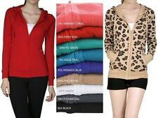 NEW WOMEN'S LIGHT WEIGHT THERMAL HOODIE ZIP-UP LONG SLEEVE STYLISH COMFORTABLE