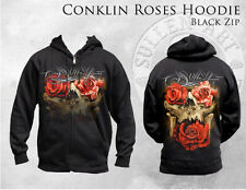 SULLEN CLOTHING CONKLIN ROSES SKULL  ZIPPERED HOODIE TATTOO INK SKULL M-5X