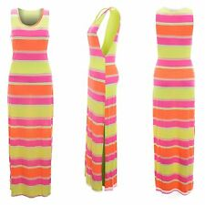 Ladies Womens Printed Multi Stripe Long Maxi Dress Multi Colour Size 8 to 14