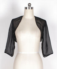 HOT BLACK CHIFFON 3/4 Sleeve Wedding Bridal Shrug/Bolero Jacket