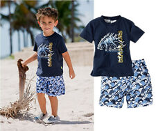 Kids boys casual clothing summer fall beach wear dinosaur T-shirt shorts set 2pc