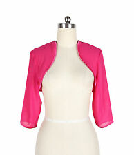 HOT PINK CHIFFON 3/4 Sleeve Wedding Bridal Shrug/Bolero Jacket