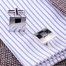 Laser Silver Square Mens Wedding Party Groom gift shirt cufflinks cuff links