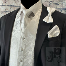WHITE XS -6XL Paisley Tuxedo Dress Vest Waistcoat & Neck tie & Bowtie And Hanky