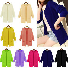 Women Knitted Cardigan Long Pattern Outwear Lady Casual Loose Sweater Coat Tops