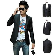 Fashion Men's Blazer Stylish Slim Fit One Button Suit Coat Jacket BLACK S-2XL