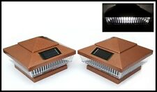 6-Pk 4x4 Garden Solar Hammer Bronze Post Deck Cap Square Fence Lights 5 LEDs