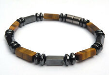 Mens' Golden Brown Tiger's Eye Magnetic Bracelet 1-2-3 Rows 4x13mm Free Shipping